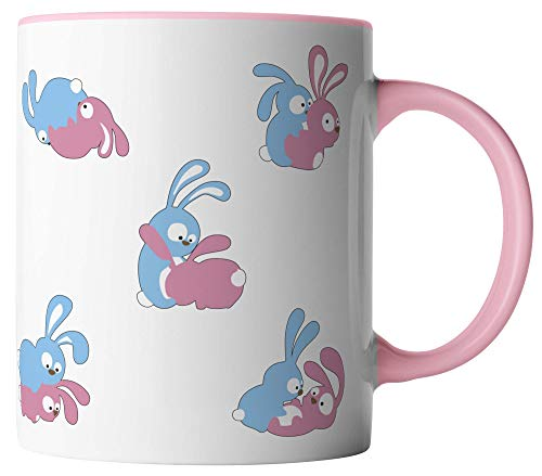 vanVerden Tasse - Hasen Kamasutra Sex Bunny - beidseitig Bedruckt - Geschenk Idee Kaffeetassen, Tassenfarbe:Weiß/Rosa