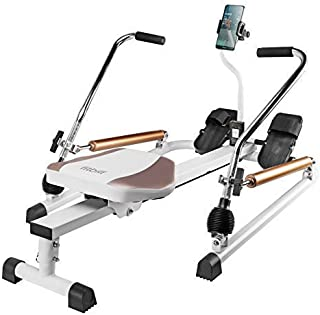 fitbill f.Row Rowing Machine Rower with Workout App, Hydraulic Resistance and Free Motion Arms