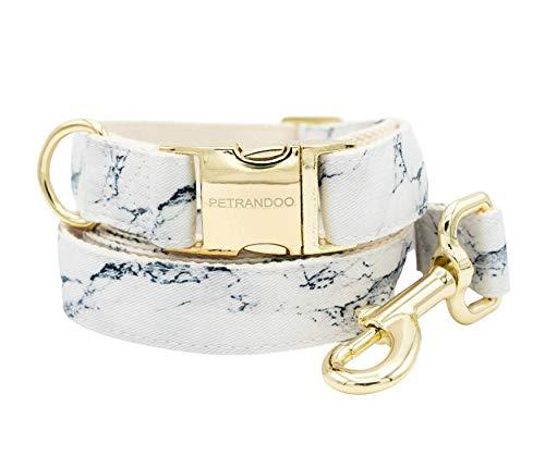 Petrandoo Marmor Hundehalsband im Set mit Leine - edles Design mit goldenen Details - robust und widerstandsfähig (35-50 cm)