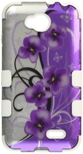 MyBat LG D415 (Optimus L90) Twilight Petunias TUFF Hybrid Phone Protector Cover - Retail Packaging - /Solid White