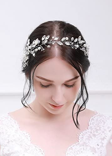 Kercisbeauty Bridal Crystal Leaf and Rhinestone Long Headband Vine Head piece for Wedding Prom product image