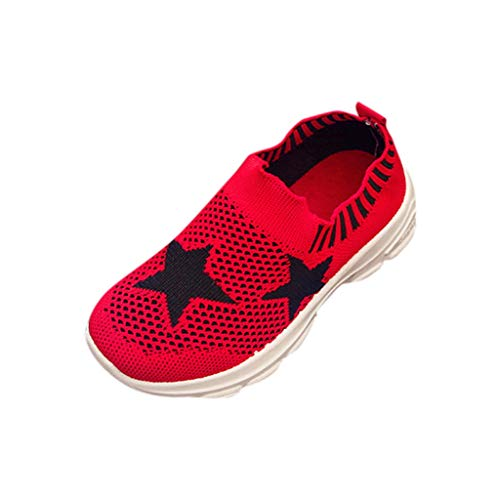 Enfant Garçons Filles Maille de Sport Baskets, Manadlian Chaussures de Sport Enfants Rayures étoiles Baskets Basses Mixte Bébé Confort Respirant Sneaker