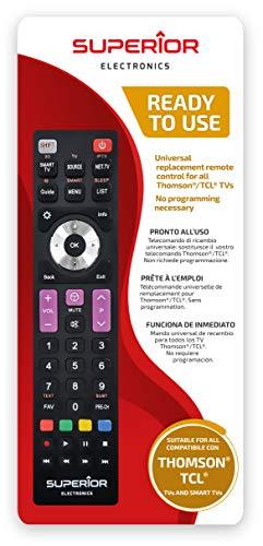 Superior Electronics SUPTRB017 Thomson / Tcl Replacement, mando a distancia de repuesto universal compatible con todos los televisores y Smart TV de marca Thomson y Tcl, listo para usar