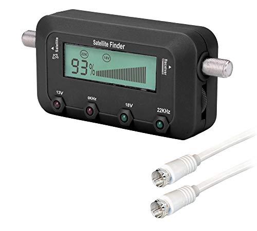 Satfinder Spotter mit digitaler LCD Anzeige und Tonsignal + Sat-Fox F-Verbindungskabel Sat-Finder