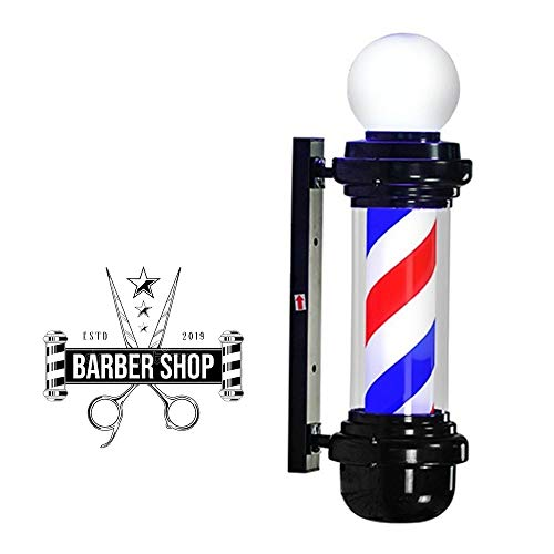 XSDAA 27'' Barber Pole LED Light Hair Salon Barbershop Open Sign Wall Mount with Light Bulb Spin Waterproof Customizable Colors (Such as The Color of The National Flag) (Color : A)