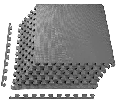 BalanceFrom Puzzle Exercise Mat with EVA Foam Interlocking Tiles, Gray (BFPM-01GY)