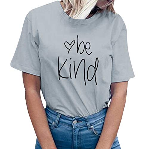 Women be Kind Letter Print Short Sleeve T-Shirt Tops Blouse Tee Gray