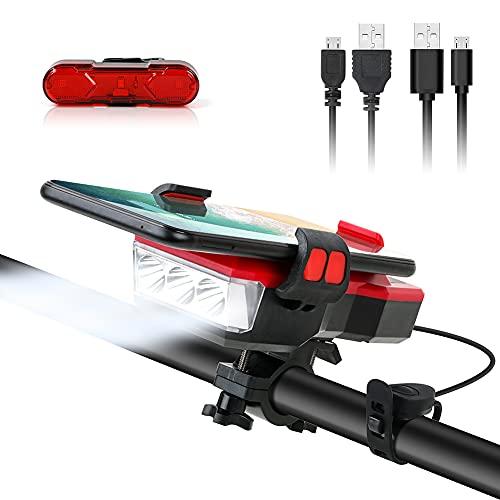 LED Fahrradlicht Set, Wiederaufladbare Fahrrad Scheinwerfer Rücklicht, IPX4 wasserdicht, Mountainbike Lichter für Nachtreiten, mit 4 Licht-Modi
