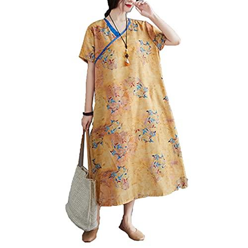 GFDRT Estilo Chino de Las Mujeres Vestido Fluido Hanfu Vestido de algodón Lino Limpieso Retro con Cuello en V Largo Qipao(L,Naranja)