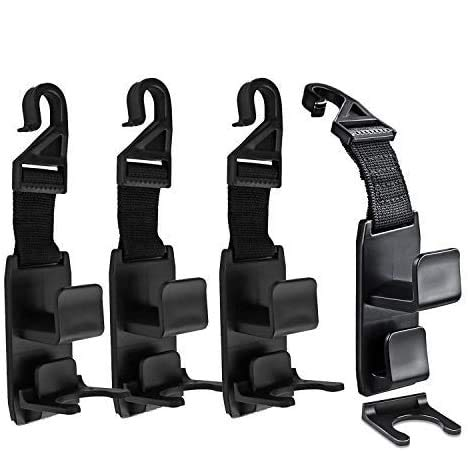 GCOA 4 Pack Ganchos del reposacabezas del coche, soporte del gancho del reposacabezas de la suspensión del bolso para el organizador del asiento de coche detrás sobre el coche del asiento trasero