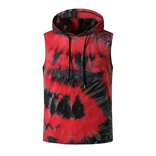 Ropa Calle Hombres Verano Estilo Hip-Hop Costura Deportiva Hombres Capucha Shirt Transpirable Slim-Fit Tie-Dye Cordones Top Sin Mangas Tendencia Elástica Moderna Hombres T-Shirt A-Red S