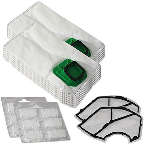 Set di 12 sacchetti per aspirapolvere in microfibra + 12 profumi + 2 filtri di protezione del motore adatti per Folletto Vorwerk Kobold 140, 150, VK 140, VK 150, VK140, VK150 - con chiusura igienica