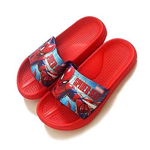 MYYLY Spiderman Niño Chanclas Niña Capitán América Zapatillas Verano Playa Sandalias Junto Piscina Casa Baño Ducha Antideslizante Plantilla Sandalia Jardín,B-240~Internal Length 23.5CM