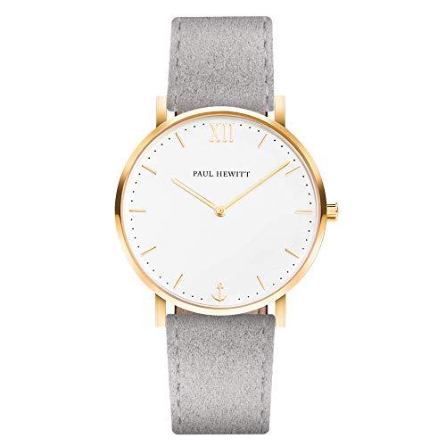 PAUL HEWITT Armbanduhr Damen Sailor Line White Sand - Damen Uhr (Gold), Damenuhr mit Stoffarmband in Grau, weißes Ziffernblatt
