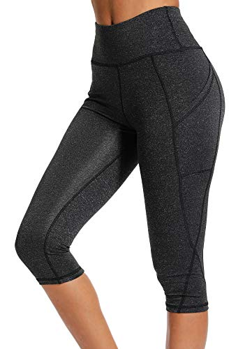 INSTINNCT Damen Doppeltaschen Sport Leggings 3/4 Yogahose Sporthose Laufhose Training Tights mit Handytasche Capris(normal) - Dunkelgrau S