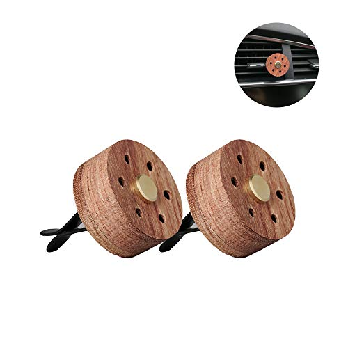 Yeejok Essential Oil Diffuser for Car with Vent Clip, Wooden Stainless Steel Lava Stone Aromatherapy Diffuser Locket Mini Air Freshener for Travel, 2 Pack