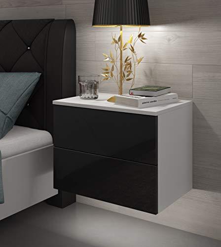 LUK Furniture Nachttisch LINA Hängeschrank mit Schubladen Push to Open System und LED Beleuchtung Weiß Hochglanz HG Schlafzimmer Schlafzimmerkommode Nachtkonsole Nachtschrank (Weiß/Schwarz Hochglanz)