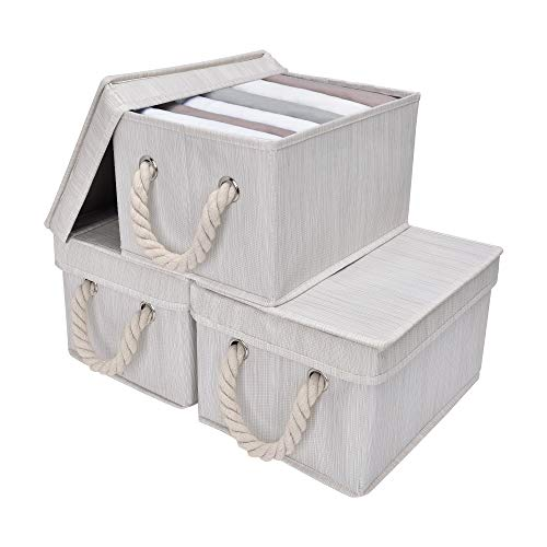 StorageWorks Storage Boxes With Lids, Closet Organizers And Storage Bin With Cotton Rope Handles, Mixing of Beige, White & Ivory, Medium, 3-Pack