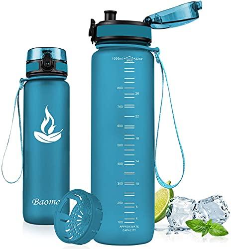 Baomay Borraccia Sportiva Bottiglia d'Acqua in Plastica con Filtro - 750ml Borracce per Bambini, Bici, Scuola Zaino, Palestra Sport   Tritan Senza-BPA & Prova di Perdite (Sea Glass)
