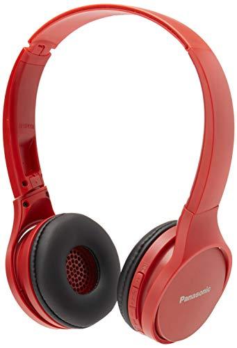Panasonic RP-HF410BPUR Rp-Hf410Bpur Audífono Bluetooth Tipo Diadema (On-Ear), Color Rojo, Funcion Manos Libres/Microfono, 24 Horas de Reproduccion Continua, Ultralivianos,