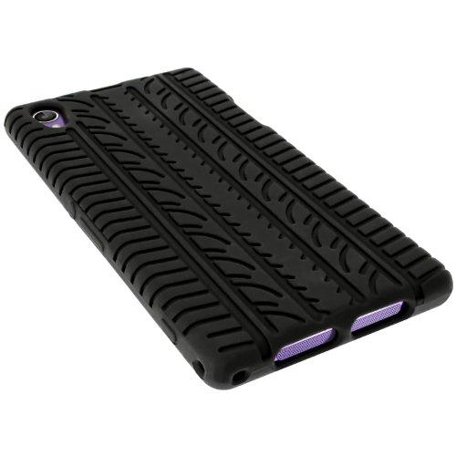 igadgitz U2725 Case Tyre Silicona Funda Cover Carcasa y Protector De Pantalla Compatible con Sony Xperia Z1 Honami (No Apto Para Z1 F Mini) - Negro