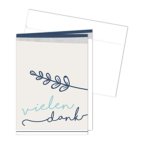 20 Danksagungskarten mit Umschlägen zur Kommunion I DIN A6 I Dankeskarten mit Brief-Umschlag im Set I für Mädchen Jungen I Vielen Dank I dv_473