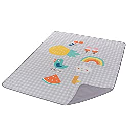 Vibrantly coloured, lightweight outdoors mat Spacious with a water resistant base. Nicely folds to a carry-bag. Washable. Suitable from birth.