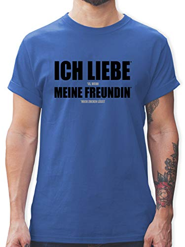 Nerds & Geeks - Ich Liebe Meine Freundin - L - Royalblau - My Socks - L190 - Tshirt Herren und Männer T-Shirts