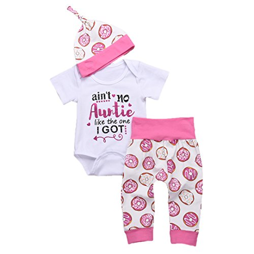 YOUNGER TREE Newborn Baby Letter Romper and Pants and Hats Outfit Set Short Sleeve Summer Clothing (White, 90/6-12 Months)