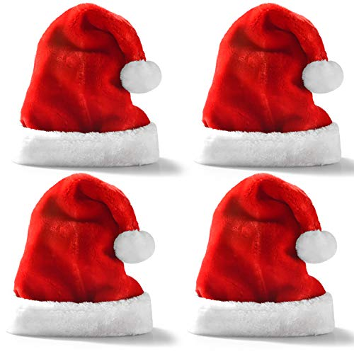 Premium Santa Hats (4 Pack), Plush Red Velvet Christmas Hats with White Cuffs