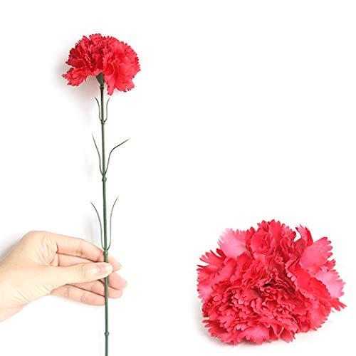 ruiruiNIE 1 Rama Artificial Clavel Falso Flores realistas DIY Floral Wedding Party Bouquet Florero casero Jardín Jardín Decoración Regalo del día de la Madre