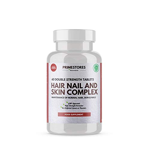Hair Nail Skin Complex Pills - 60 Vitamins Tablets - High Strength Halal Multi Complex Healthy Growth Vitamin Supplement Pills by Primestores