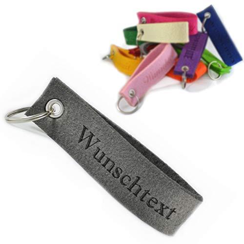 polar-effekt Schlüsselband Anhänger mit Gravur aus Filz - Schlüsselanhänger Personalisierte Geschenkidee zum Geburtstag - Individuelle Geschenk Schmuck - Farbe blau
