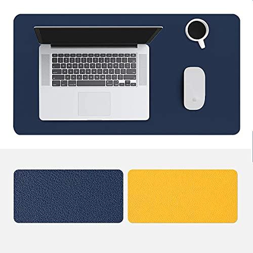 Ahtyeo Alfombrilla antideslizante para ratón de escritorio, de piel sintética, impermeable, protector de escritorio para oficina y hogar, 800 x 400 mm (amarillo azul)