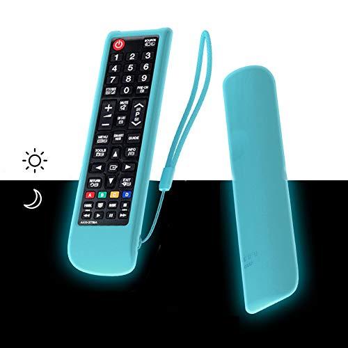 SIKAI Custodia Protettiva Compatibile con Telecomando TV Samsung AA59-00741A BN59-01175N AA59-00602A Antiurto in Silicone per Smart TV Case Antiscivolo Anti-Perso con Cordino (Blu Fluorescente)
