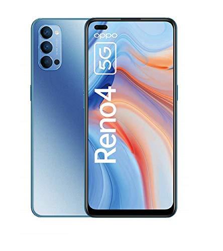 OPPO Reno4 5G Smartphone, 6,4 Zoll AMOLED Bildschirm, 128 GB ROM, 8 GB RAM, 48 MP Triple-Kamera, 32 MP Dual Front-Kamera, inkl. Gutschein [Exklusiv bei Amazon], Galactic Blue – Deutsche Version