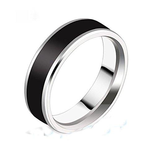 Herrenringe, schwarzes Band, Geschenkschmuck, Hochzeitsmode, Verlobung, Titaniumstahl, Größe 53