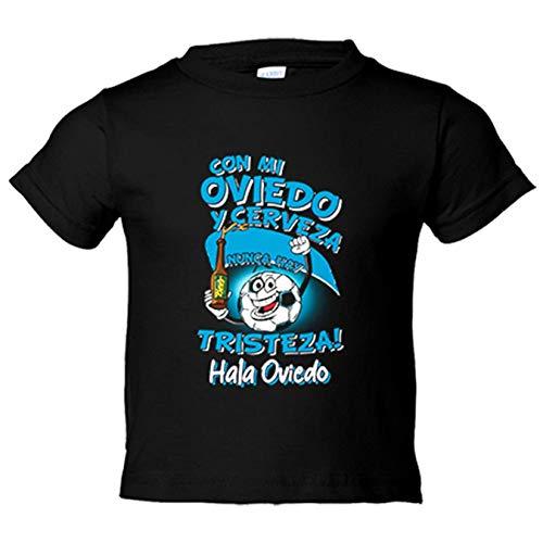 Camiseta niño frase con mi Oviedo y cerveza nunca hay tristeza fútbol - Negro, 12-18 meses
