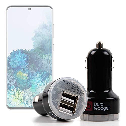 DURAGADGET Cargador Mechero del Coche Compatible con Smartphone Samsung Galaxy S20 5G, Samsung Galaxy S20 Ultra 5G, Samsung Galaxy S20+ 5G - con Dos Puertos USB