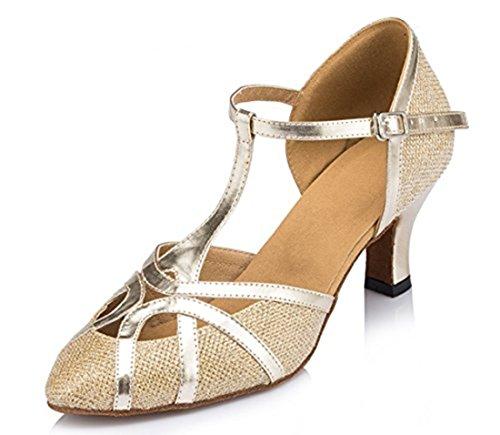 TDA Womens Mid Heel Gold PU Leather Salsa Tango Ballroom Latin Party Dance Shoes CM101 9 M US