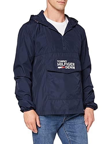 Tommy Jeans Herren POP OVER ANORAK 55 Langarm Jacke Jacke Blau Marine Large
