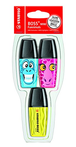 Stabilo'Boss Mini' funnimals Highlighter–colores surtidos (Pack de 3), color Assorted 3 unidades