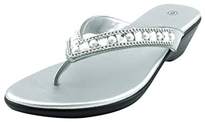 Cambridge Select Women's Studded Crystal Rhinestone Bead Chain Thong Flip-Flop Mid Wedge Sandal (8.5 B(M) US, Silver)