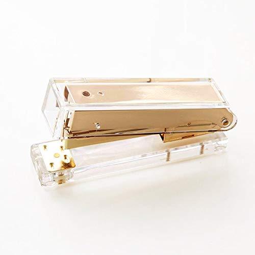 Engrapadora Acrílica Transparente Oro Rosa Grapadora Kawaii Papel Estacionario Oro Suministros De Oficina 1pcs Oro