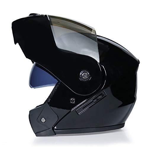 MTTKTTBD Motorrad-Helm Klapphelme,Retro Roller-Helm Mofa-Helm Scooter-Helm Bobber Chopper Crash Cruiser Racing Locomotive,Integralhelm mit Anti-Fog Doppelvisier
