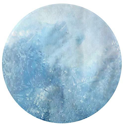 W-WEE Heladas Azules Cojines Antideslizantes cómodos Alfombra Redonda Alfombra Redonda Alfombrilla Linda Alfombra Redonda de baño 60cm