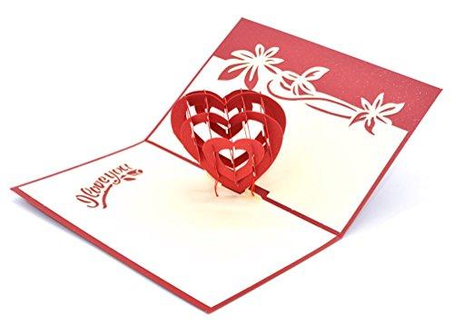 Medigy 3D Pop Up Biglietto D' Auguri Per San Valentino, Amanti Della Coppia, Matrimonio, Dating, Anniversario (Cuore Di Amore)