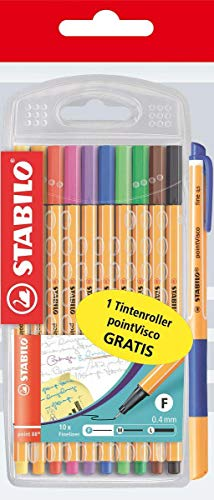 Fineliner - STABILO point 88-10er Pack - 10 Standardfarben Promo Pack inkl. 1 Point Visco blau