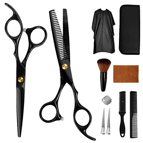 Haarschere Set, 2 Scharfe Friseurscheren aus Edelstahl, Haarschneideschere Effilierschere - Professionelle Friseur Schere Haare Perfekter Haarschnitt Frisörschere für Damen, Herren und Kinder