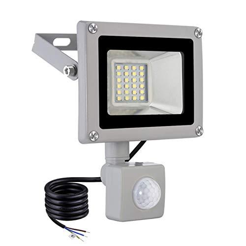 kingpo Foco LED de 20 W con detector de movimiento exterior, 1600 lm, 6500 K, luz blanca fría, muy brillante, iluminación exterior, IP65 resistente al agua, ideal para jardín, casa, garaje